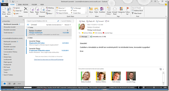 Presence in e-mail